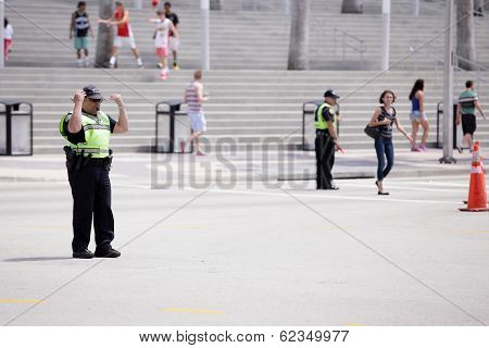 Stock image of Police regulating crowds