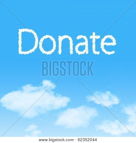 Donate Cloud Icon With Design On Blue Sky Background