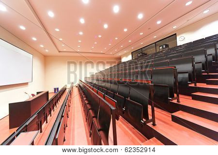 JENA, GERMANY - MAY, 08, 2011: empty lecture hall in a University in ABBE Center of Photonics (ACP) am Campus Beutenberg in Jena. Gerrmany
