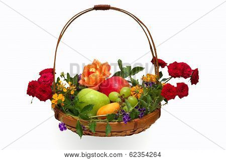 Basket Of Fruit And Flowers