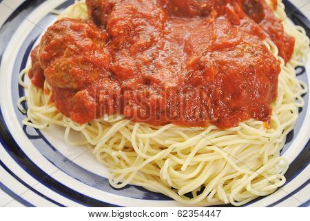 Large Serving Of Spaghetti And Meatballs