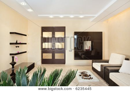 Modern Drawing-room Interior In Warm Tones