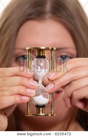 The Nice Girl Having Control Over A Sand-glass