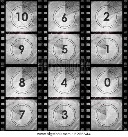 Grunge Film Countdown In Dark Color