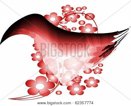 Red fantasy bird in png-format