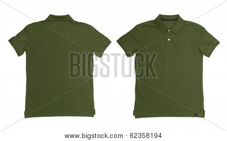 Vintage Dimmed Green Color Polo Shirt With White Background Men Front And Back Polo Shirt
