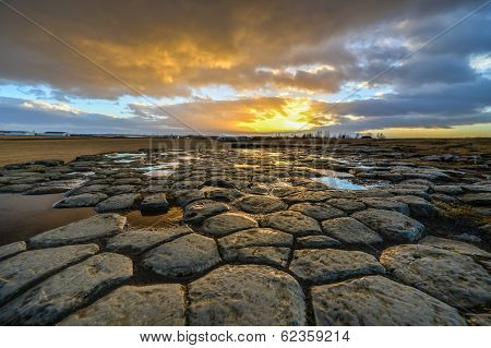 Kirkjugolf (Church Floor) At Sunrise, Iceland