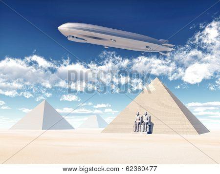 Egyptian Pyramids and Airship
