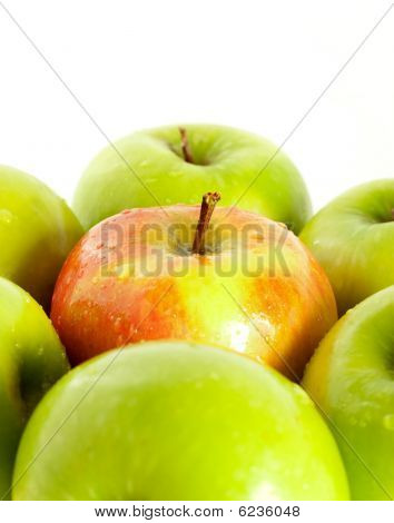 Wet Red Apple Between Green Apples