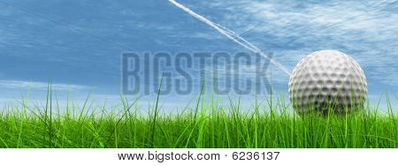 3d white golf ball in green grass on a blue sky