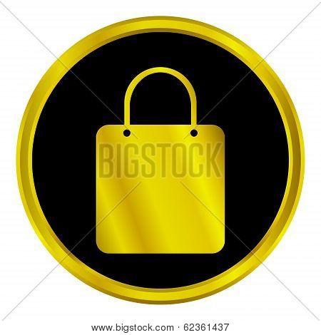 Gold Shopping Bag Button