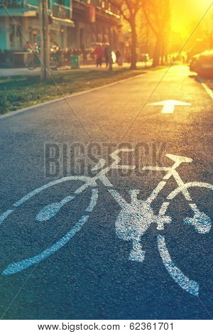 Bicycle Lane Mark On The Street