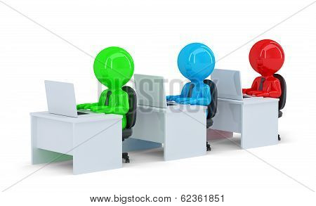 Colorful Office Workers. Isolated. Contains Clipping Path