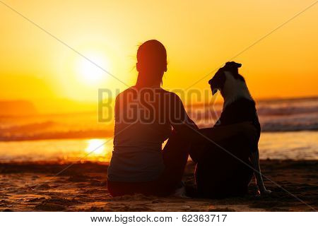 Woman And Dog Looking Summer Sun