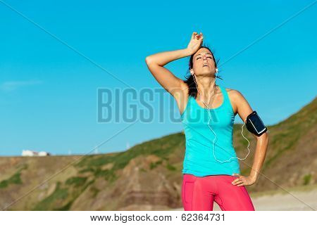 Exhausted Female Runner Over training