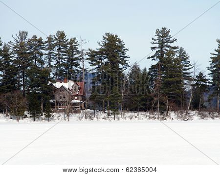 House in the Adirondacks in Winter