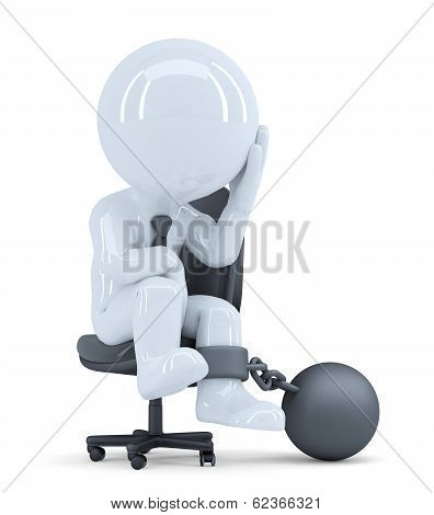 Sad Business Man Chained To His Chair. Business Concept. Isolated. Contains Clipping Path