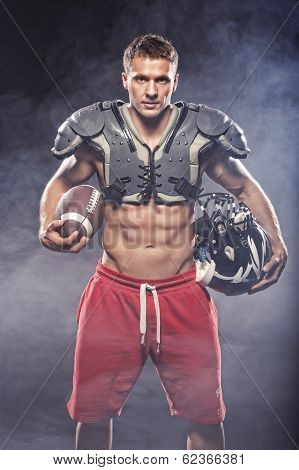 American Football Player Posing