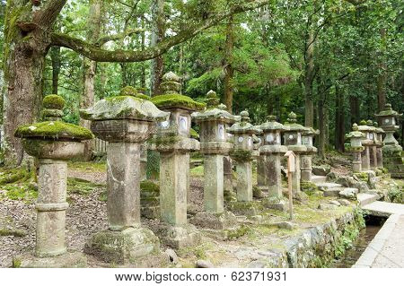 Way leading to a shinto shrine Kasuga-taisha with many traditional lanterns. Nara, Japan