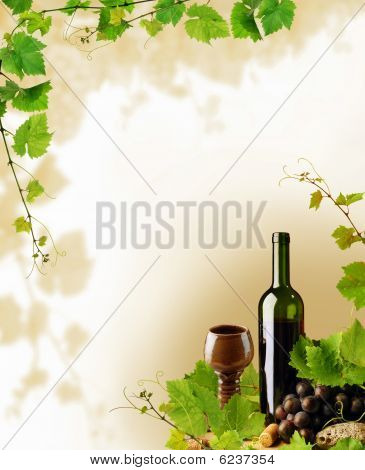 Red wine and grapevine border