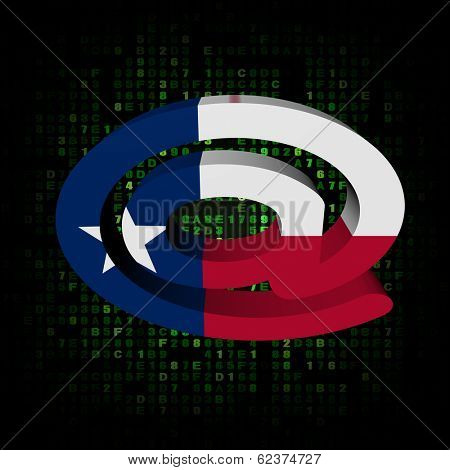 e-mail address AT symbol with Texan flag on hex illustration