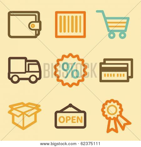 Shopping web icons set in retro style