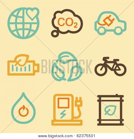Ecology web icons set in retro style