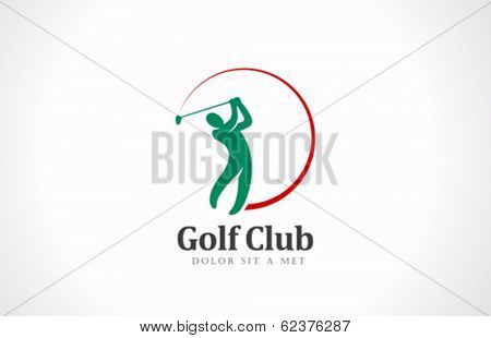 Golfer playing vector logo design. Golf club tournament concept icon.