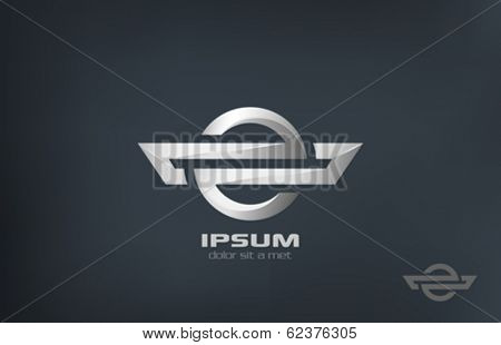 Corporate symbol metal vector logo design. Metallic abstract luxury concept. Business creative icon