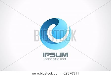 Sphere Abstract vector logo design. Business Technology circle icon. Sci-fi hitech futuristic