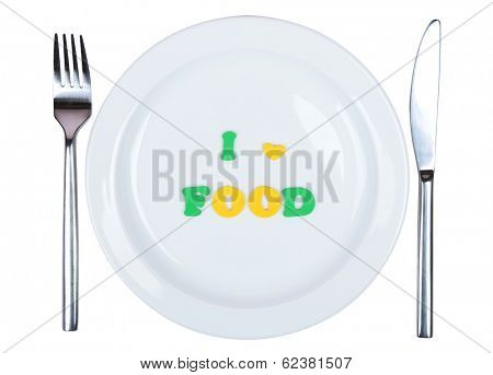 Plate with inscription i love food isolated on white