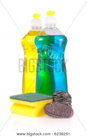 Liquid detergent bottles with scouring pad stainless steel