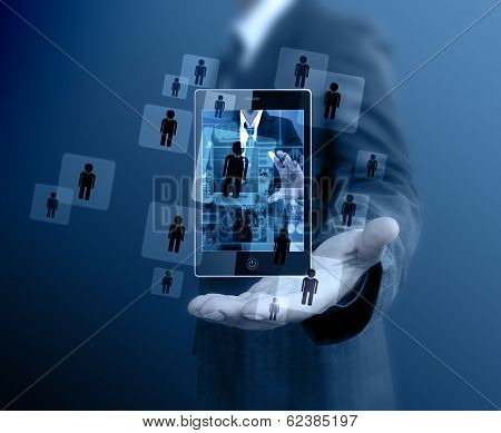 Businessman Holding Mobile Phone Choosing The Right Person