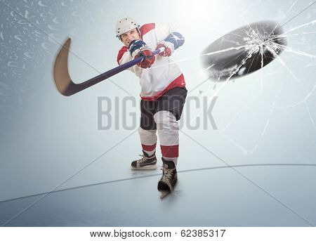 Ice Hockey Puck Hit The Opponent Visor