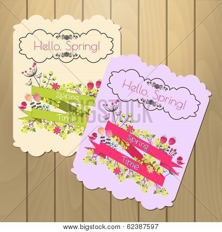 Set of floral spring cards