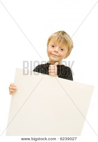 Child and  blank sign.