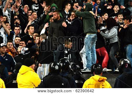 Hooligans During A Football Match