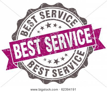 Best Service Violet Grunge Retro Style Isolated Seal
