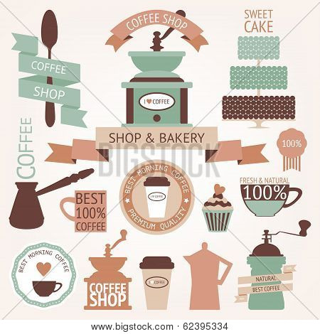 Graphic set of vintage coffee icons