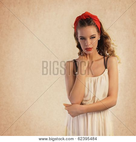 Young Woman Portrait. Retro Style