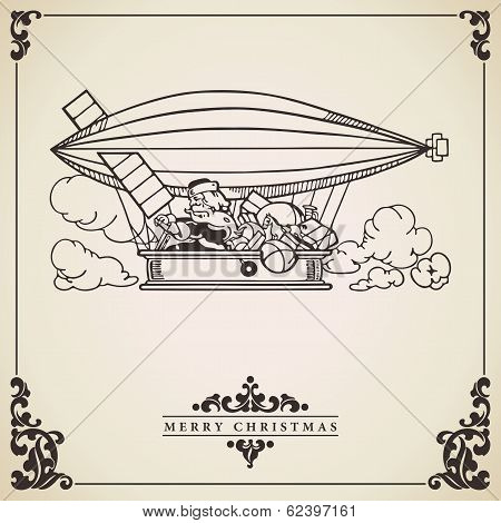 Santa Claus In Dirigible. Vector Card.
