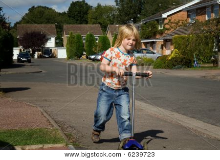 Child Scooter Playing