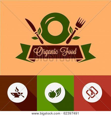 flat organic food icons