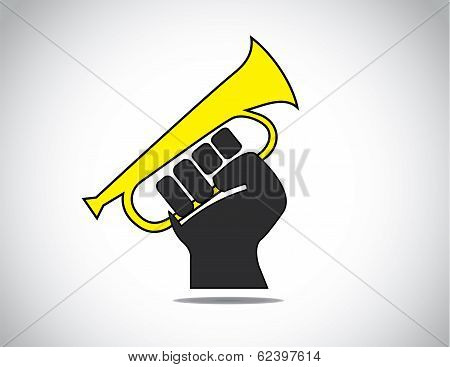 Human Hand Fist Protesting By Holding A Yellow Megaphone Concept