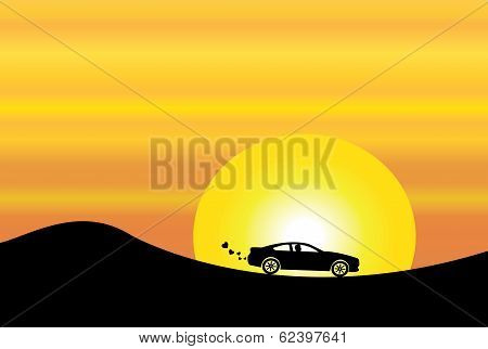 Car Silhouette On Mountain & Orange Evening Sky With Yellow Sun Environmentally Friendly Peaceful