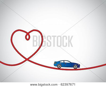 Heart Shaped Road & Blue Car Love Driving Or Travel Concept. Red Heart Shaped Road With Blue car