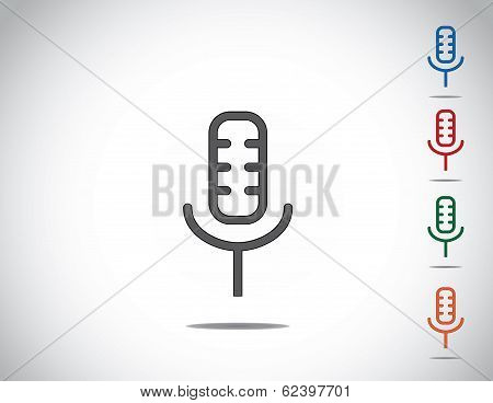 Simple Colorful Microphone Mic Icon Symbol Collection Set Design