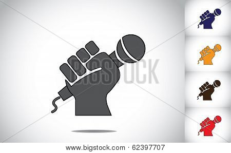 Human Hand Strongly Holding Mic Microphone - Karaoke Concept