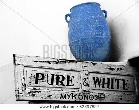 Mykonos Blue Vase In Mykonos,greece