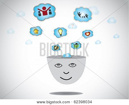 Young Happy Human Face Day Dreaming About Success Home Idea Family & Money